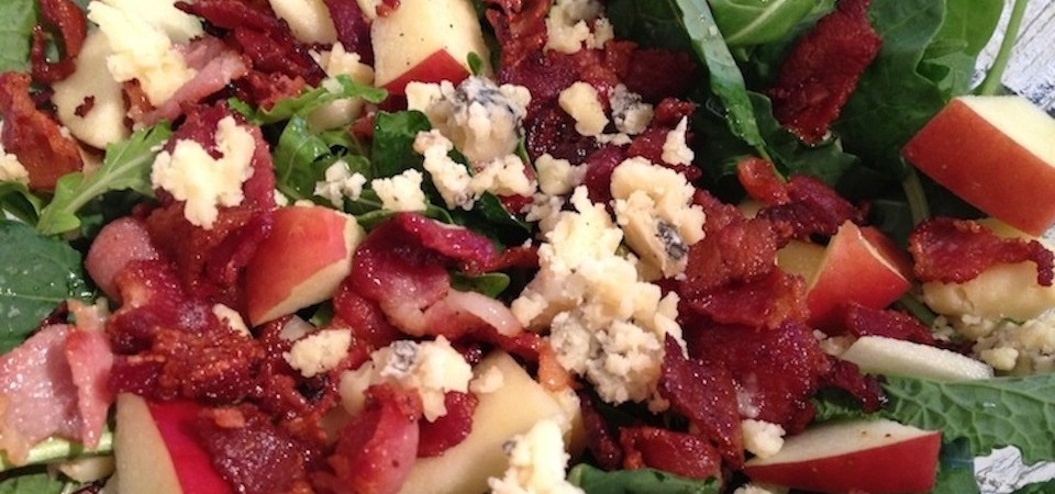 Bacon, Blue Cheese, Apple and Arugula Salad